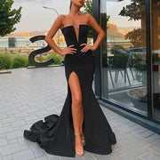 Sexy Black Deep V Sleeveless Split Tail Dress