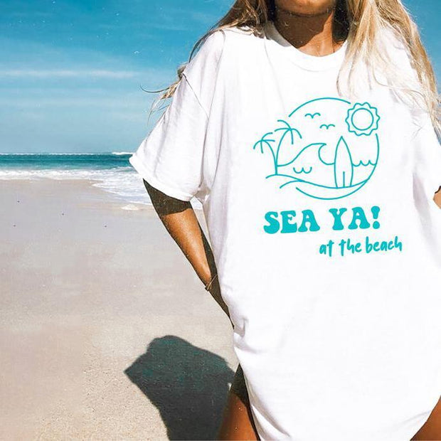 Vintage Printed Short-sleeved T-shirts SEA YA
