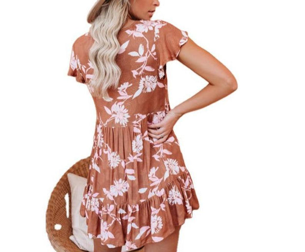 Women V-neck white flower high waist dress