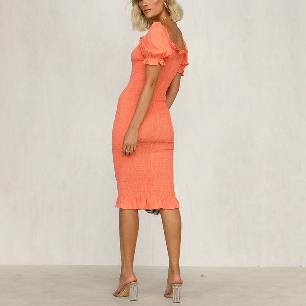 Solid color square collar slim midi dress