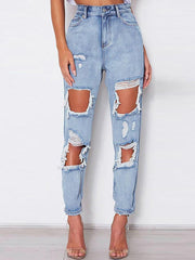 High Waist Slim Irregular Jeans