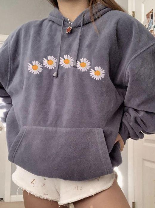 Womens Stylish Casual Daisy Print Hoodie