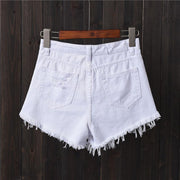High waist hole denim shorts female summer student Korean version of the raw edge wide legs fat mm loose plus fat size a word hot pants