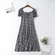Stylish Printed Square-Cut Collar Short Sleeve Midi Dress