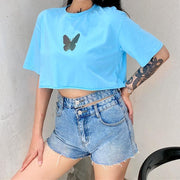 Loose short-sleeved butterfly print T-shirt