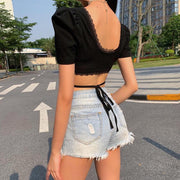 Sexy deep V-neck short puff sleeve lace stitching lace top