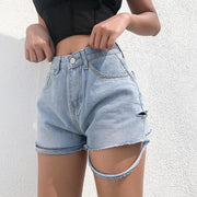 Young Fashion High Waist Raggy Denim Shorts