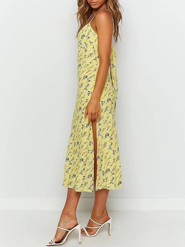 Sexy sling print vacation midi dress