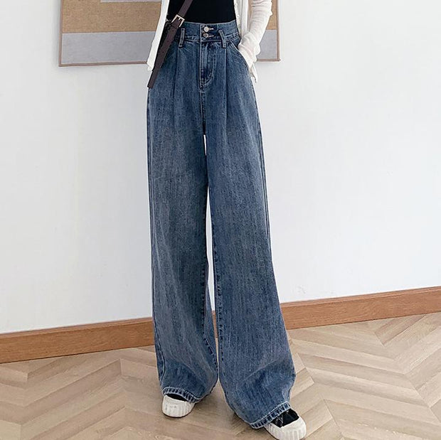 Casual Vintage High Rise Loose Wide Leg Mop Jeans