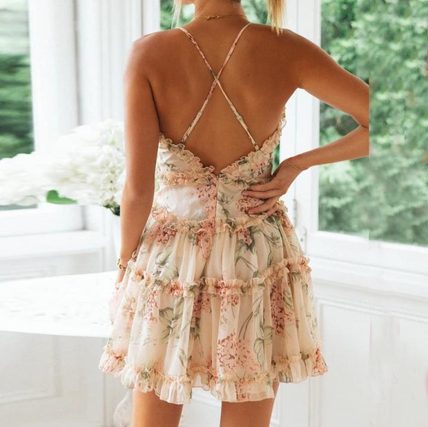 Women Fashion temperament suspender floral dress