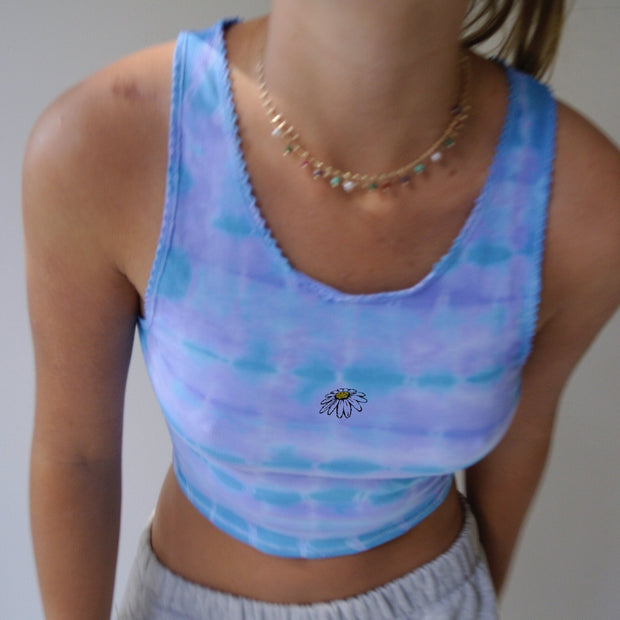 Women Tie-Dye Slim Crop tops