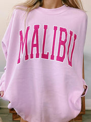 Round Neck Long Sleeve Pink Sweatshirt