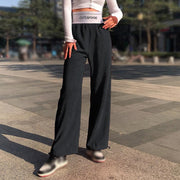 Women's loose letter high waist waist corduroy beam pants
