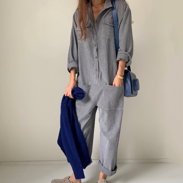 Women's fashion pocket lapel jumpsuit
