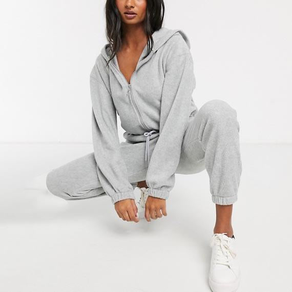 Hooded zipper casual jumpsuit