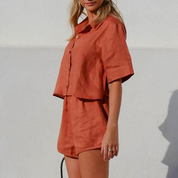 Linen casual short sleeve shorts suit