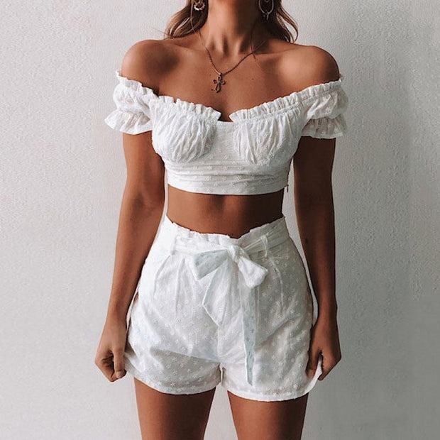 Ruffle sleeves Embroidered Two-piece set