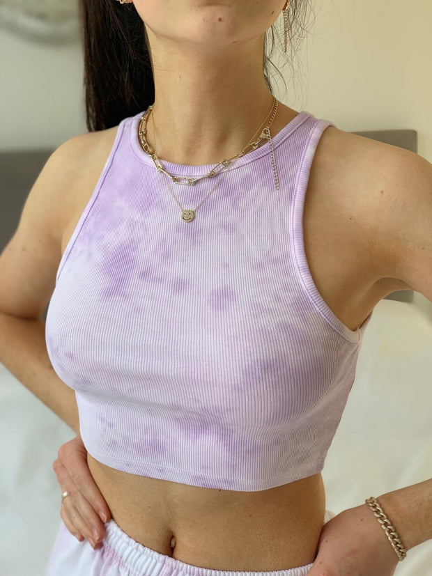 Women Iris Purple Tie Dye Crop Top