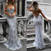 Sexy V-Neck Sleeveless Strap Sequined Evening Dress Fishtail Dress