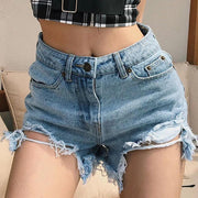Womens slim-fit casual denim shorts