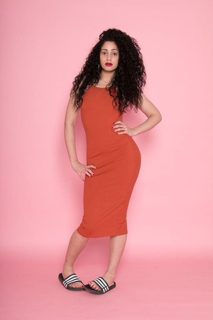 Eka Racer Back Dress in Burnt Orange