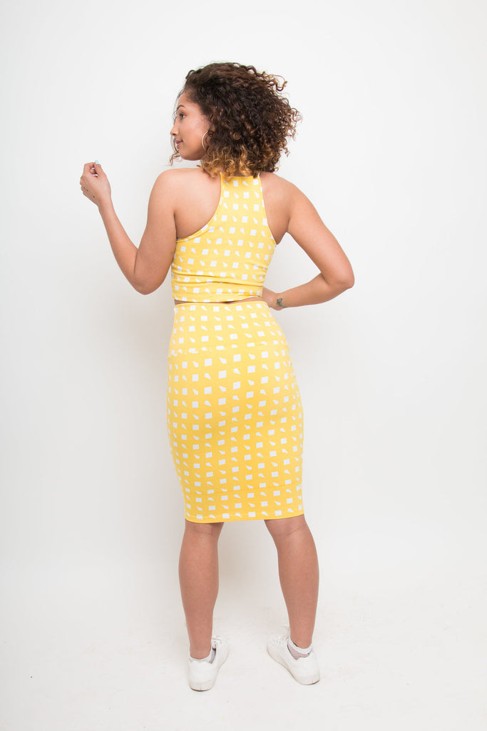 Favell Pencil Skirt In Esk Yellow Print