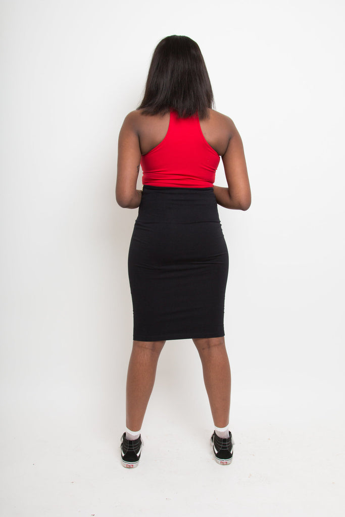 Favell Pencil Skirt In Blackest