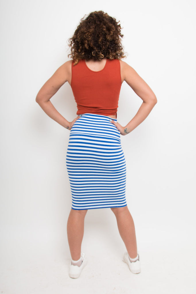 Favell Pencil Skirt In Royal Stripe