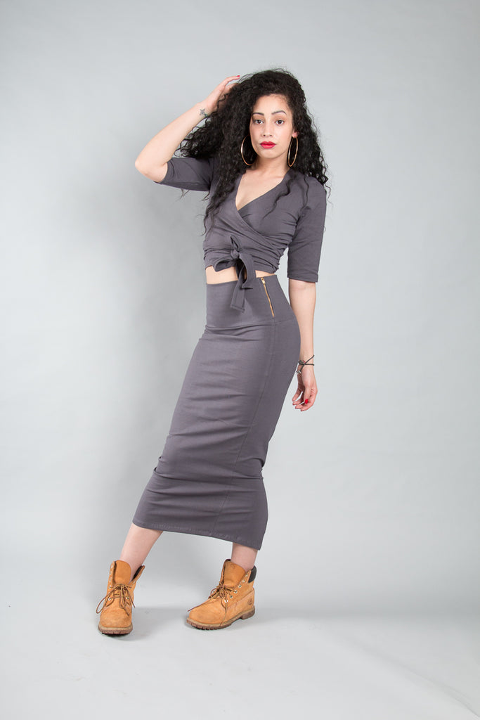 Favell Midi Skirt in Stormy