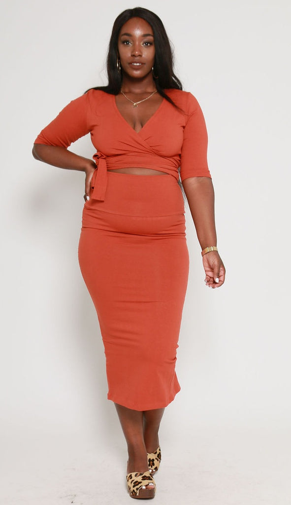 Favell Midi Skirt in Burnt Orange