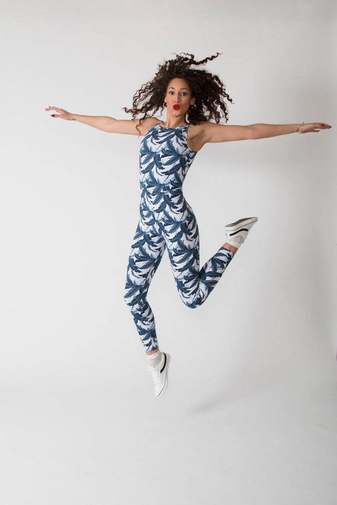Santai Jumpsuit in Blue Banana Print