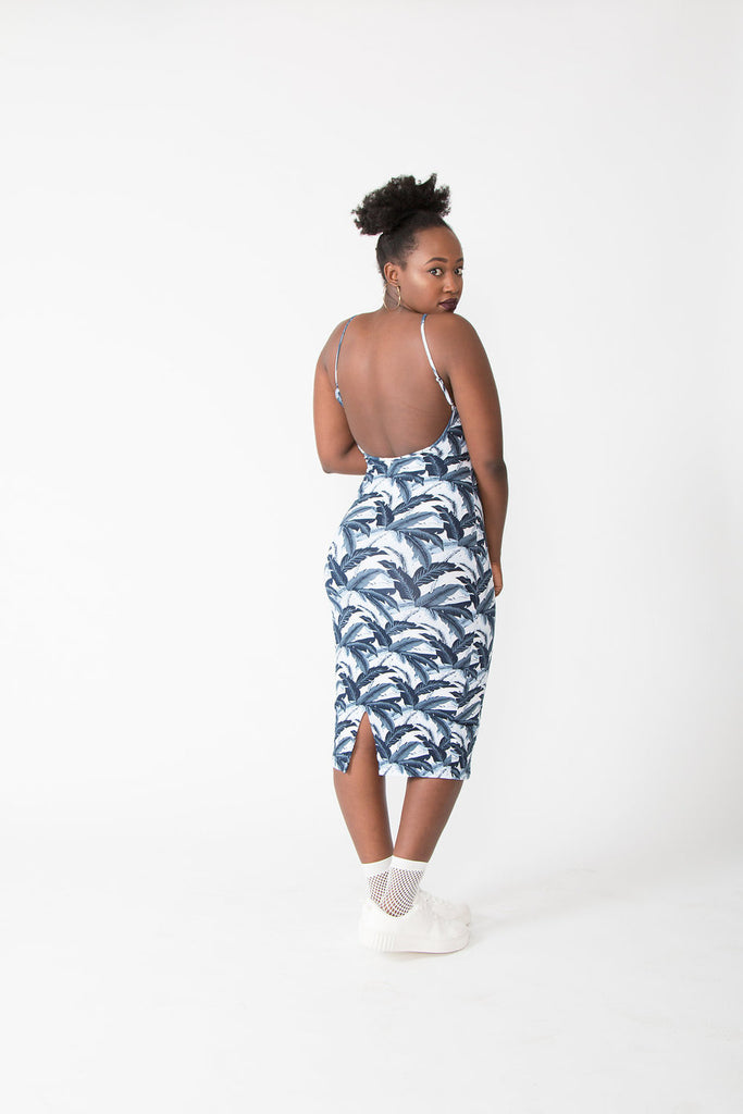 Nata Dress in Blue Banana Leaf
