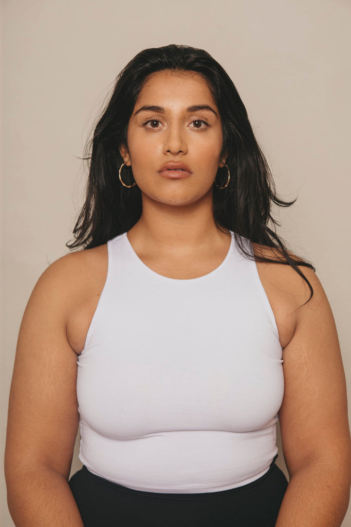 Iza Crop Vest Top in White