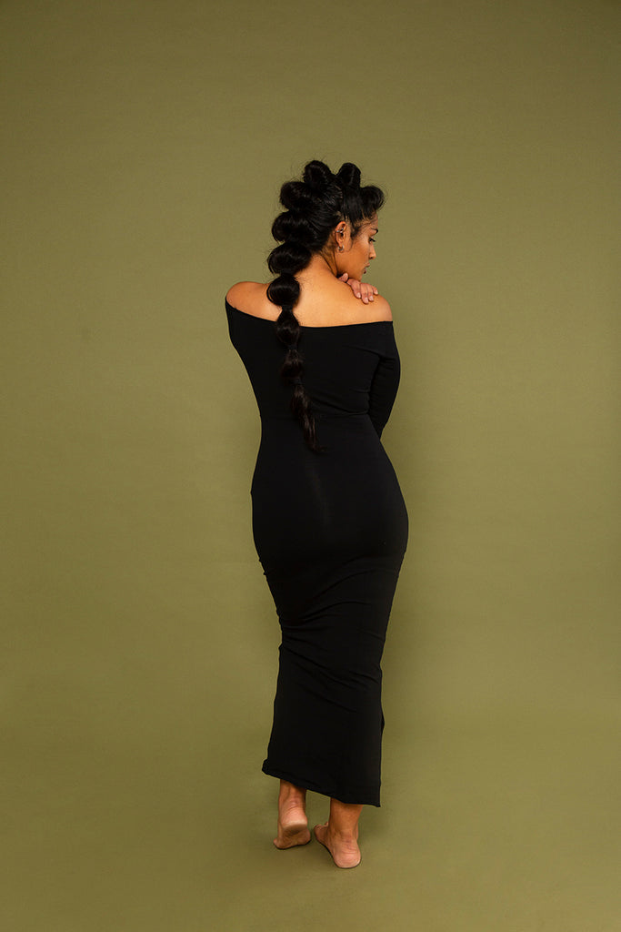 Baza Midi Dress in Blackest