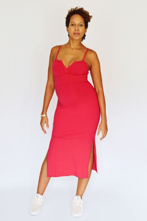 Saffi Midi Dress in Hottest Pink