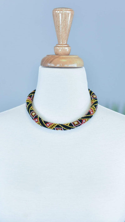The ZigZag Stripe MOA Necklace Black Mariana Necklace