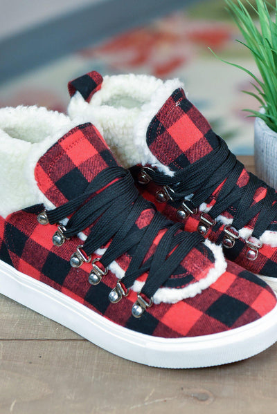 The ZigZag Stripe Very G Shoes 6 / Buffalo Plaid FINAL SALE // Snuggly Fur Sneakers