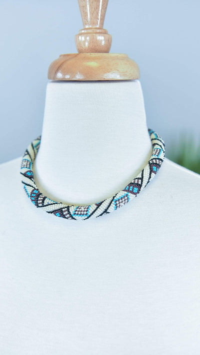 The ZigZag Stripe MOA Necklace Ivory Mariana Necklace