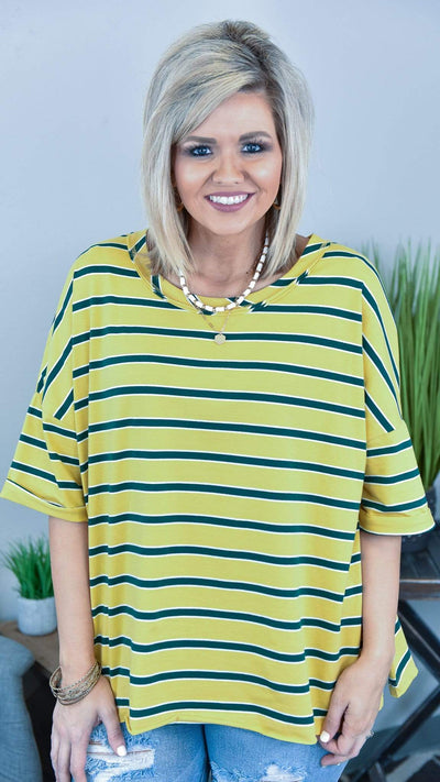 The ZigZag Stripe Easel Top Mustard Show Me Love Top