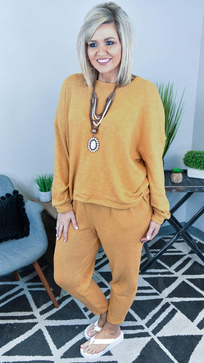 The ZigZag Stripe Zenana Lounge Wear Mustard Truly Relaxed Lounge Set