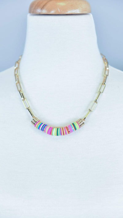 The ZigZag Stripe Urbanista Necklace Pink Karina Necklace