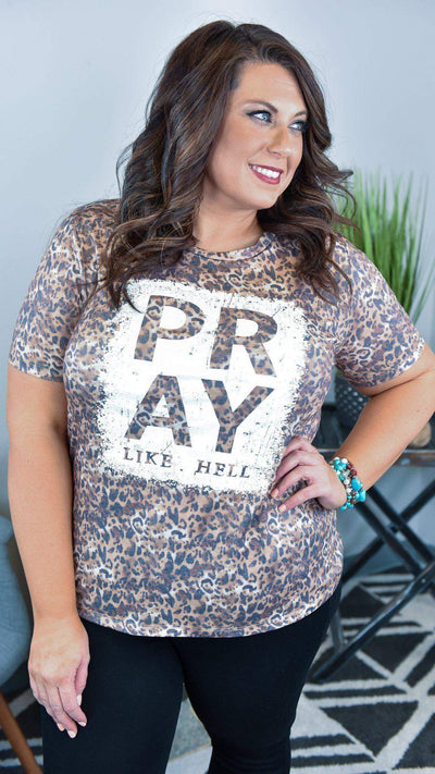 The ZigZag Stripe Southern Grace Graphic Tee Pray Like Hell Tee