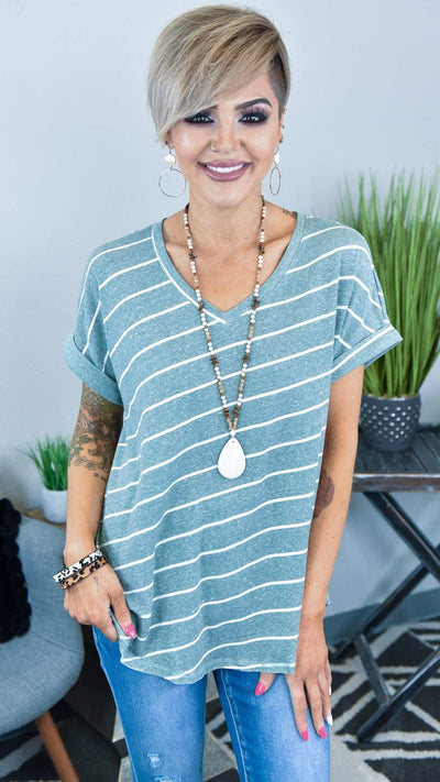 The ZigZag Stripe Rae Mode Top Sage Great Strides Top