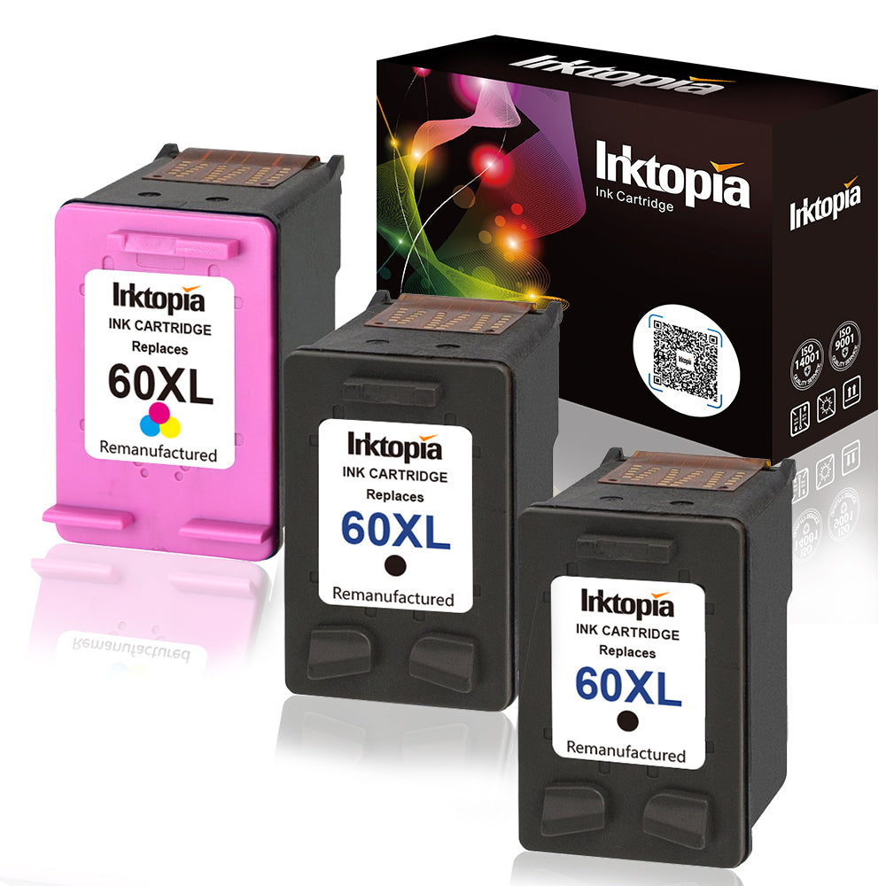 2 Black No-name Remanufactured Ink Cartridges Replacement for HP HP60 HP60XL 60 XL 60XL CH641WN Photosmart C4640 4600 C4635 4700 C4780 4700 C4795 Inkjet Printer