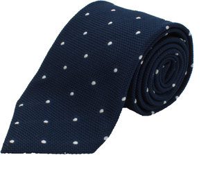 Oxford Blue Polka Dot Grenadine Silk Tie one-bespoke-london.myshopify.com