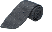 Load image into Gallery viewer, French Grey with Blue Polka Dot Grenadine Silk Tie one-bespoke-london.myshopify.com