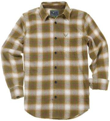 Bone Collector Long Sleeve Button Up Plaid Flannel - Gadwall Barley-Bone Collector Apparel-Bone Collector Life