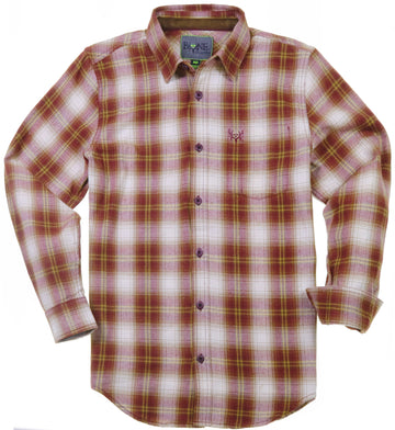 Bone Collector Long Sleeve Button Up Plaid Flannel - Gadwall Brick by Michael Waddell-Bone Collector Apparel-Bone Collector Life