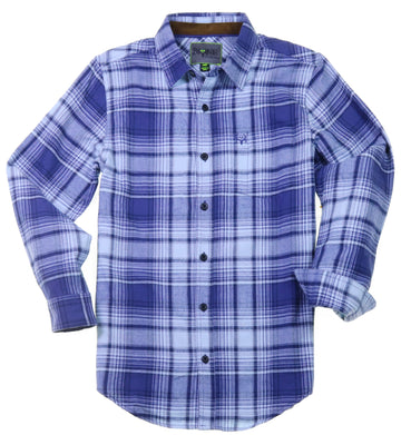 Bone Collector Long Sleeve Button Up Plaid Flannel - Scaup Blue by Michael Waddell-Bone Collector Apparel-Bone Collector Life