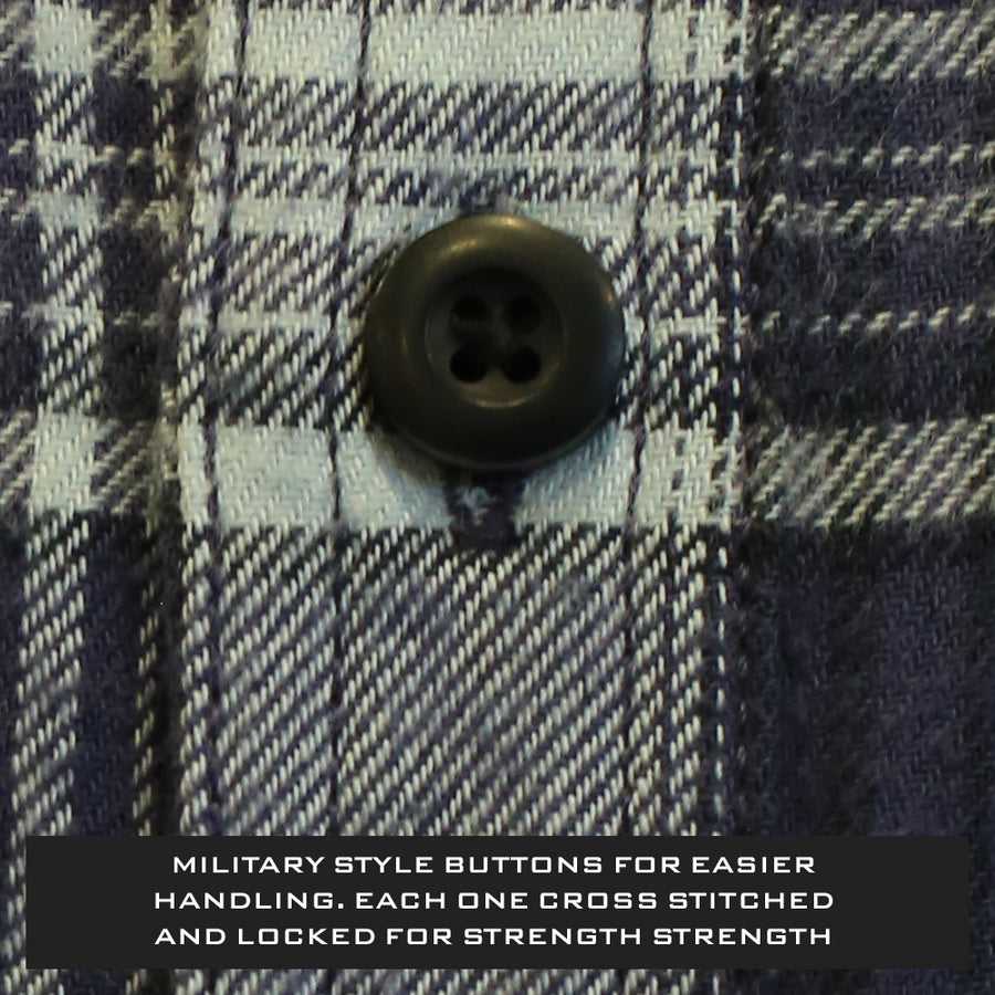 Bone Collector Long Sleeve Button Up Plaid Flannel - Scaup Blue-Bone Collector Apparel-Bone Collector Life